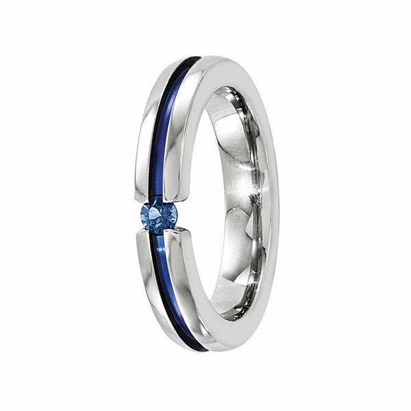 Edward Mirell Mens Genuine Blue Sapphire Titanium Wedding Band