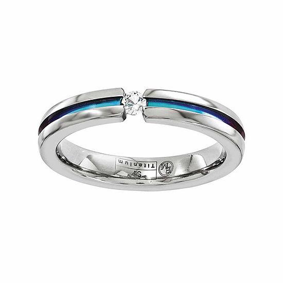 Edward Mirell Mens 4 Mm Genuine White Sapphire Titanium Wedding Band