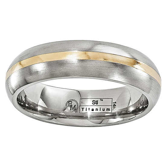 Edward Mirell Mens 6 Mm 14K Gold Titanium Wedding Band