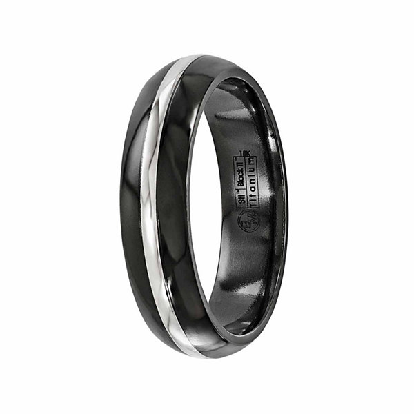 Edward Mirell Mens 14K Gold Titanium Wedding Band