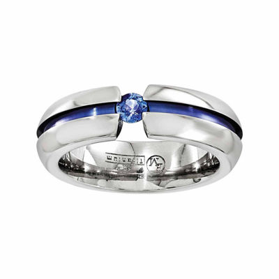Edward Mirell Mens 6 Mm Genuine Blue Sapphire Titanium Band