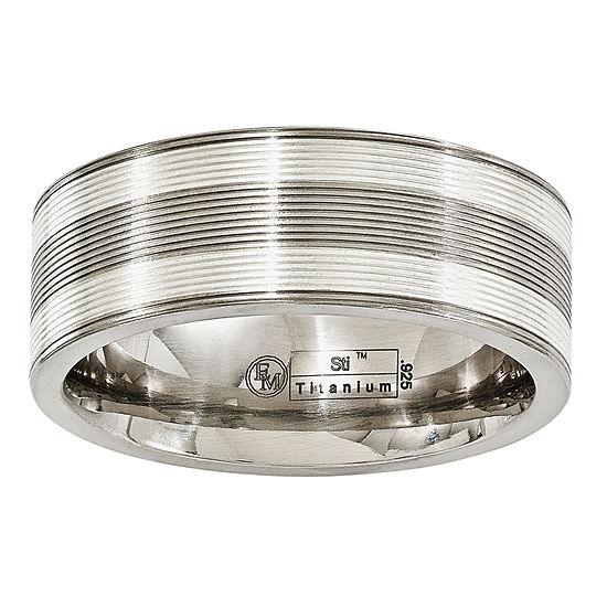 Edward Mirell Mens 8.5 Mm Sterling Silver Titanium Wedding Band