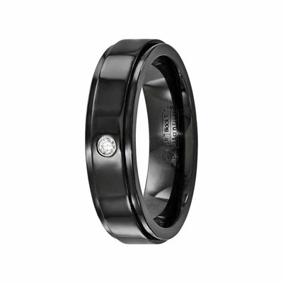 Edward Mirell Mens 6 Mm Diamond Accent Genuine White Diamond Sterling Silver Titanium Band