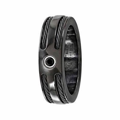 Edward Mirell Mens 7 Mm Genuine Black Sterling Silver Titanium Band