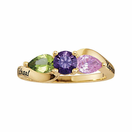 Personalized Simulated Birthstones Couples 3-Stone Ring
