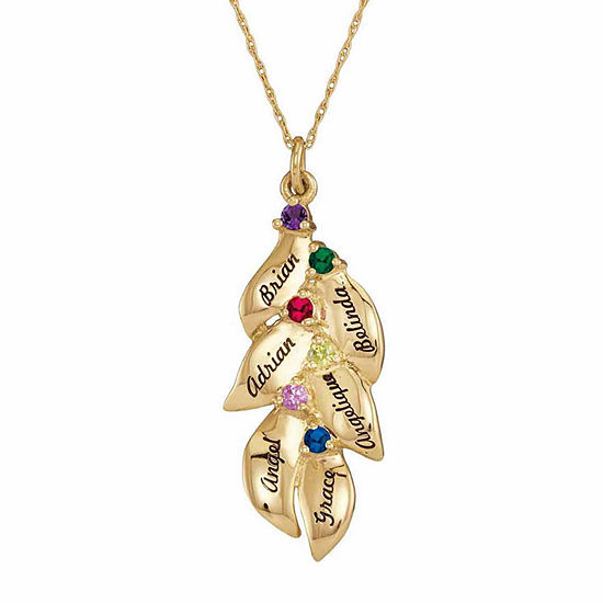 Personalized Genuine Birthstone Leaves Pendant Necklace