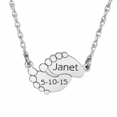 Personalized Name & Date Baby Feet Pendant Necklace