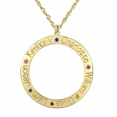 Personalized Birthstone Family Name Circle Pendant Necklace