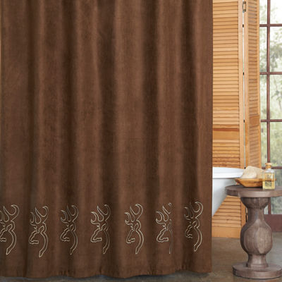 Browning Buckmark Embroidered Suede Shower Curtain