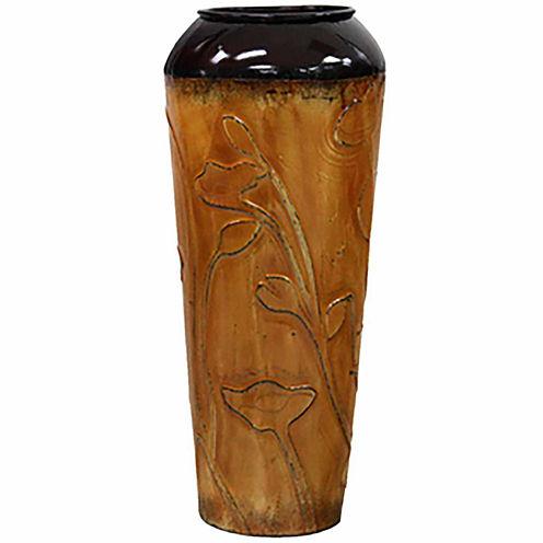 """24"""" Orange Metal Cylinder Vase"""