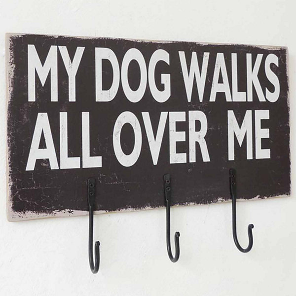 Dog Sign With Hooks Wall Decor