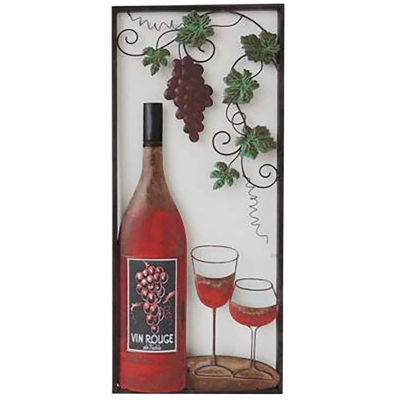 Wine with 2 Glasses Right Wall Decor