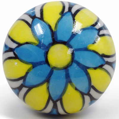Epicureanist Blue And Yellow Floral Ceramic Wine Bottle Topper