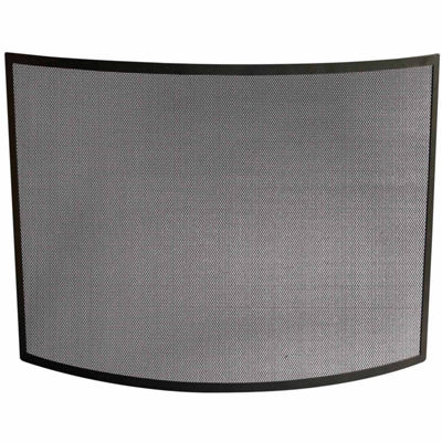 Single Panel Curved Wrought Iron Fireplace Screen