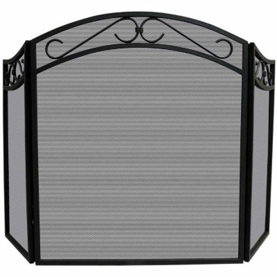3 Fold Wrought Iron Arch Top Fireplace Screen