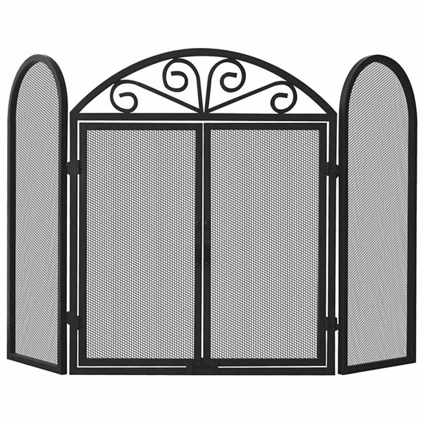 3 Fold Wrought Iron Fireplace Screen