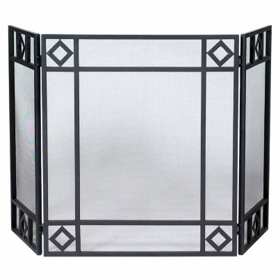 Blue Rhino 3 Fold Wrought Iron Fireplace Screen