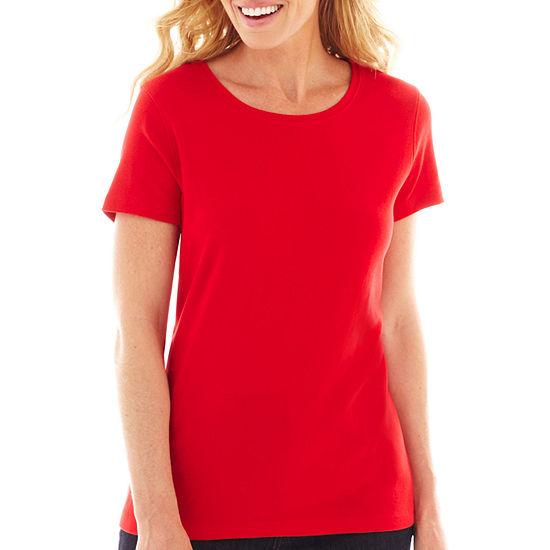 St. John's Bay® Fitted Crewneck T-Shirt