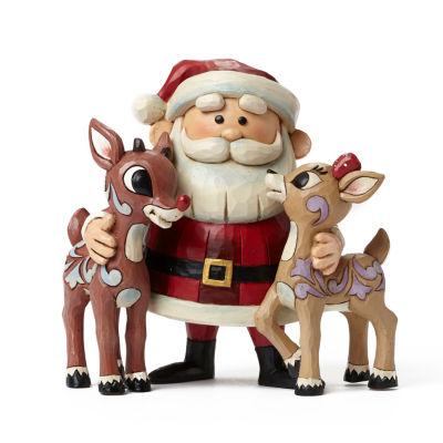 Jim Shore Santa Hugging Rudolph & Clarice Figurine