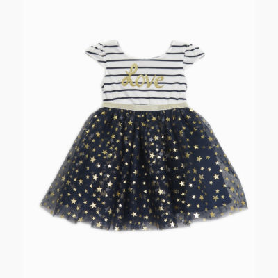 Lilt Short Sleeve Stripe Love Tutu Dress - Baby Girls