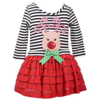Bonnie Jean Long Sleeve Reindeer Face Holiday  Dress - Baby Girls