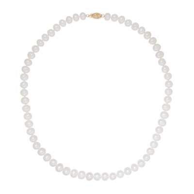 Sofia Womens 7MM White Cultured Freshwater Pearls 14K Gold Strand Necklace