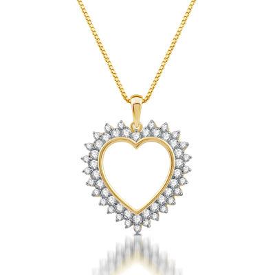 Womens 1 CT. T.W. Genuine White Diamond 10K Gold Pendant Necklace