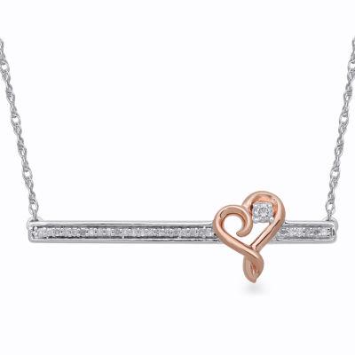 Hallmark Diamonds 1/10 CT. T.W. Diamond Sterling Silver & 14K Rose Gold Over Silver Pendant Necklace
