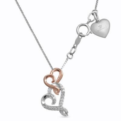 Hallmark Diamonds Womens 1/10 CT. T.W. Genuine White Diamond 14K Rose Gold Over Silver Sterling Silver Heart Pendant Necklace