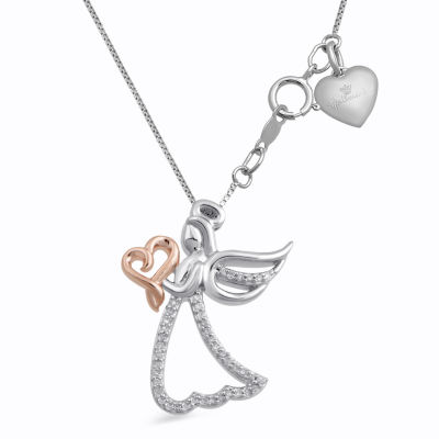 Limited Edition Hallmark Diamonds 1/10 CT. T.W. Diamond Sterling Silver & 14K Rose Gold over Silver Pendant Necklace