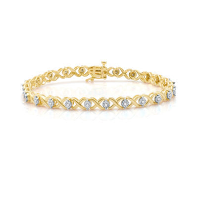 Womens 1/2 CT. T.W. White Diamond 14K Gold Over Silver Tennis Bracelet