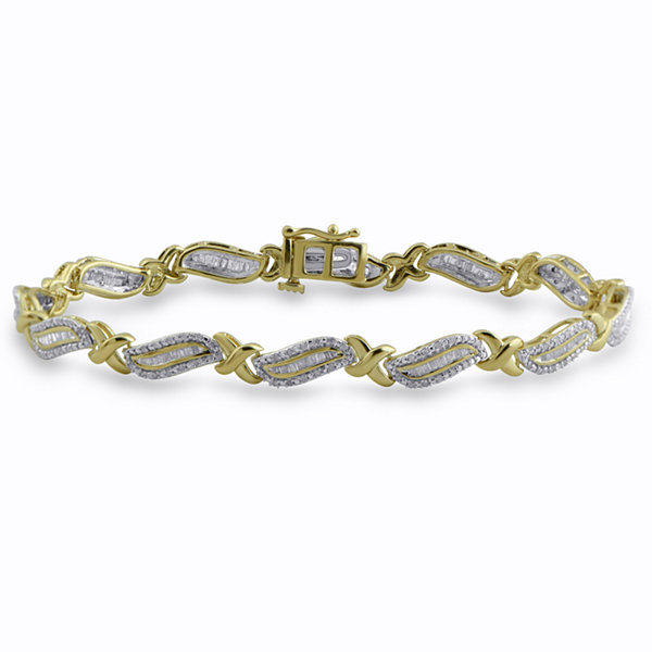 Womens 7 1/2 Inch 1 CT. T.W. White Diamond 14K Gold over Silver Tennis Bracelet