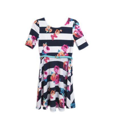 Lilt Elbow Sleeve Fitted Sleeve Fit & Flare Dress - Big Kid Girls