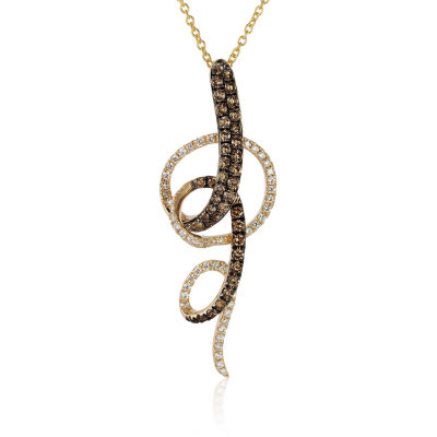 Grand Sample Sale™ by Le Vian®  3/4 CT. T.W. Vanilla Diamonds® & Chocolate Diamonds® 14K Honey Gold™ Pendant Necklace