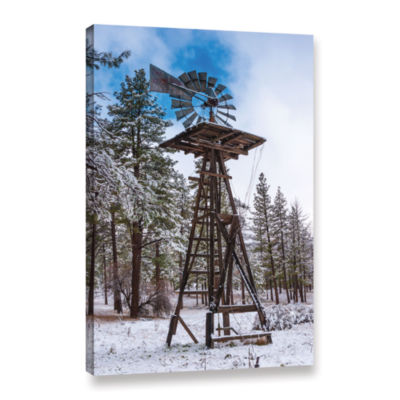 Brushstone Windmill In The Snow Gallery Wrapped Canvas Wall Art