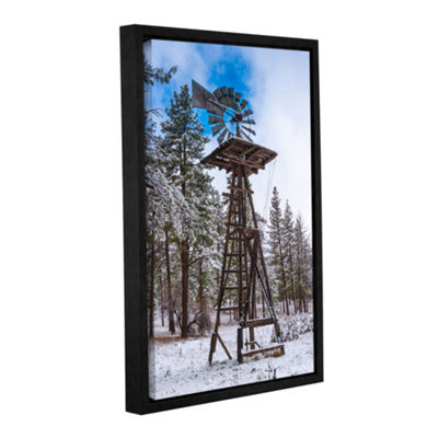 Brushstone Windmill In The Snow Gallery Wrapped Floater-Framed Canvas Wall Art