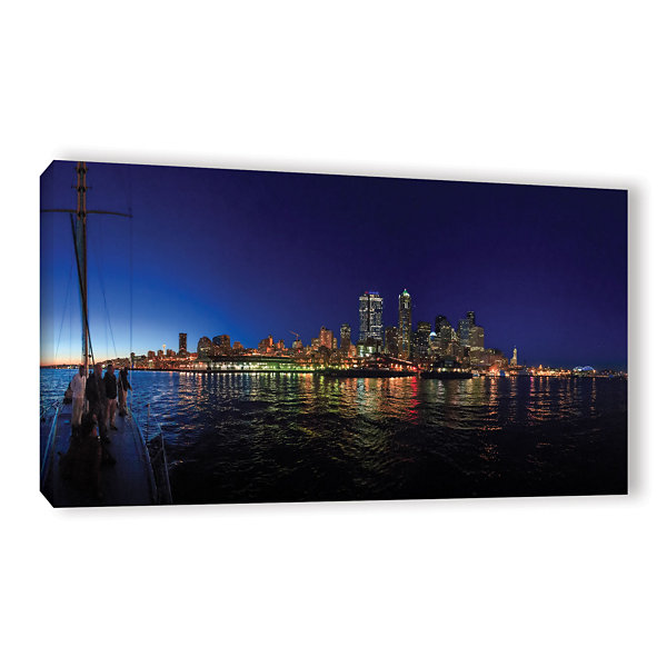 Brushstone Seattle City Skyline Romance Gallery Wrapped Canvas Wall Art