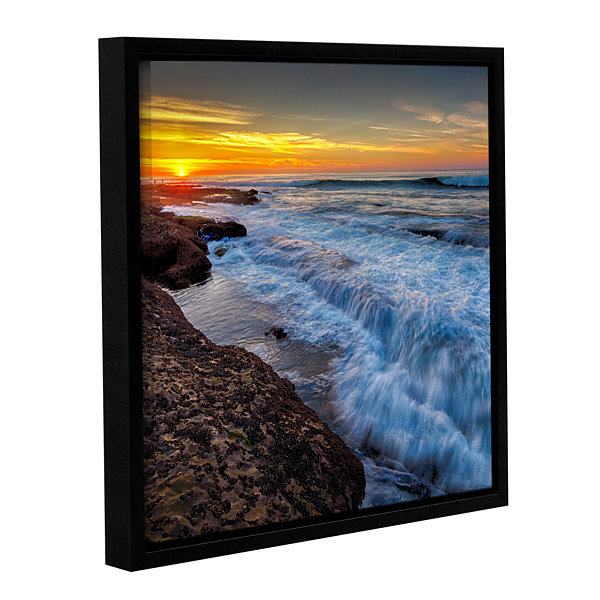 Brushstone La Jolla New Year King Tide 4 Gallery Wrapped Floater-Framed Canvas Wall Art