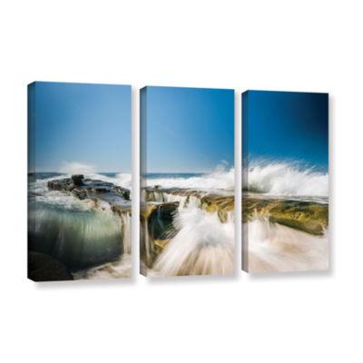 Brushstone Incoming La Jolla Rock 3-pc. Gallery Wrapped Canvas Wall Art