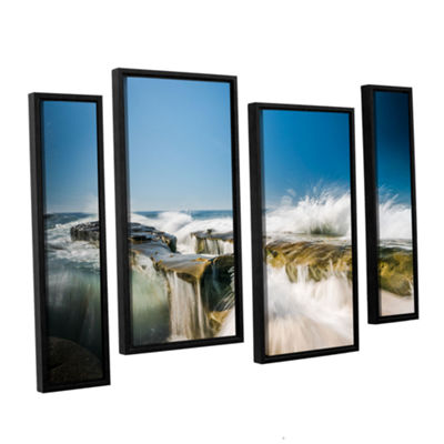 Brushstone Incoming La Jolla Rock 4-pc. Floater Framed Staggered Canvas Wall Art