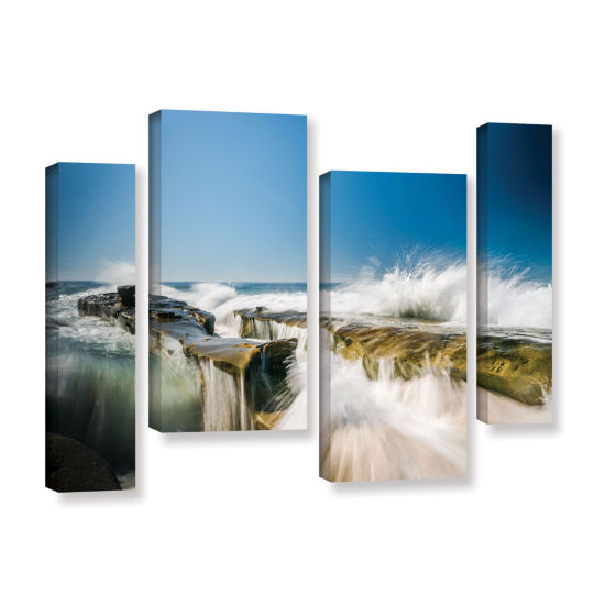 Brushstone Incoming La Jolla Rock 4-pc. Gallery Wrapped Staggered Canvas Wall Art
