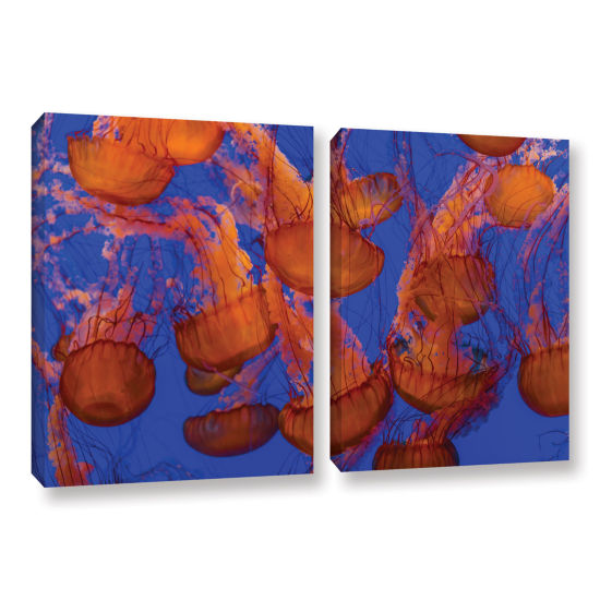 Brushstone Pacific Sea Nettle Cluster 1 2-pc. Gallery Wrapped Canvas Wall Art