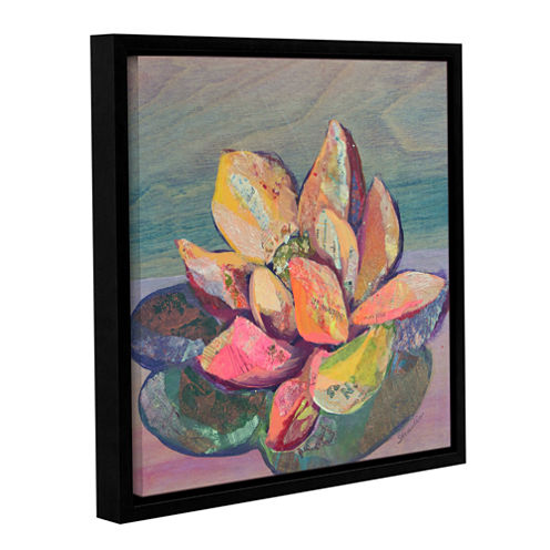 Brushstone Lotus 3 Gallery Wrapped Floater-FramedCanvas Wall Art