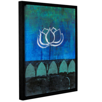 Brushstone Lotus Blossom (006) Gallery Wrapped Floater-Framed Canvas Wall Art