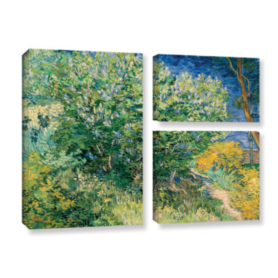 Brushstone Lilacs 3-pc. Flag Gallery Wrapped Canvas Wall Art
