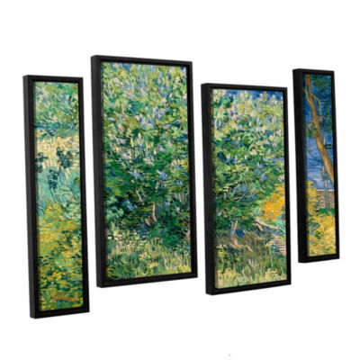 Brushstone Lilacs 4-pc. Floater Framed Staggered Canvas Wall Art