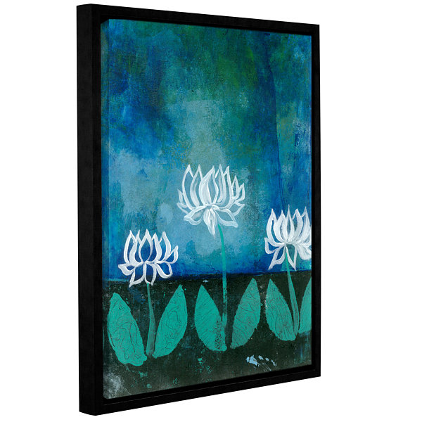 Brushstone Lotus Blossom (007) Gallery Wrapped Floater-Framed Canvas Wall Art