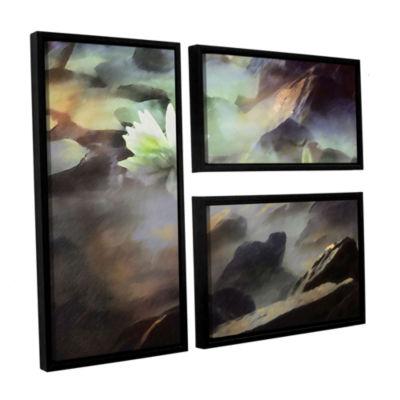 Brushstone Lily In Rocks 3-pc. Flag Floater FramedCanvas Wall Art