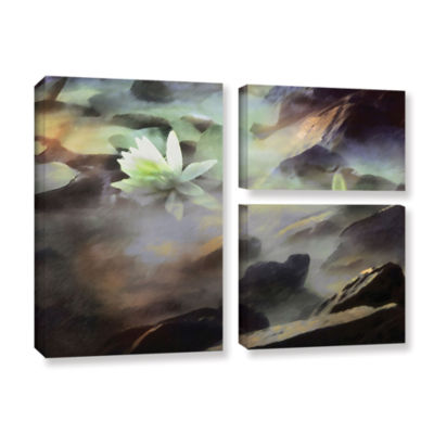 Brushstone Lily In Rocks 3-pc. Flag Gallery Wrapped Canvas Wall Art