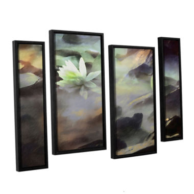 Brushstone Lily In Rocks 4-pc. Floater Framed Staggered Canvas Wall Art